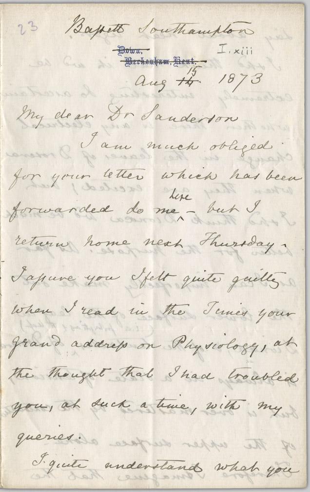 Letter, Charles R. Darwin to John Burdon-Sanderson, August 15, 1873 - pg. 1